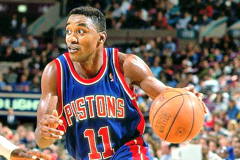 Isiah-Thomas-drives-for-Detroit-Pistons