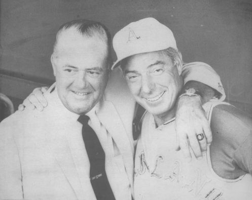 Oakland Athletics vice president Joe DiMaggio, right, has reunion last night with Ken Keltner, the former Cleveland Indians third baseman who twice threw out the former Yankee on July 17, 1941, when DiMaggio's 56-hit game hitting streak was halted.